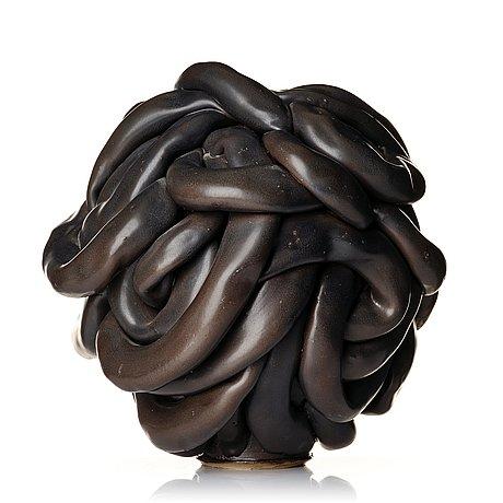 "Mårten medbo, a glazed stoneware sculpture, ""hose"", dated 2012."