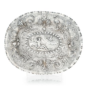 137. A Baltic early 18th century silver dish, mark of Christoffer I. Mansfeld, Reval (1682-1710).