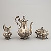 A swedish matched three-piece coffe-set, mark of mollenborg, stockholm 1845 and 1852.