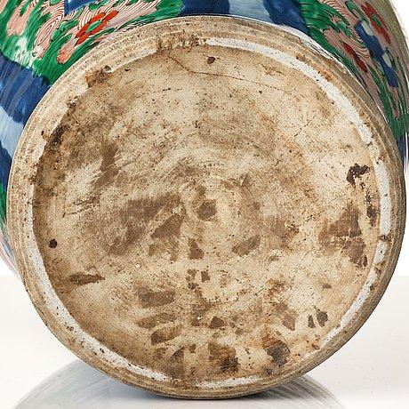 A pair of transitional wucai jars, 17th century.