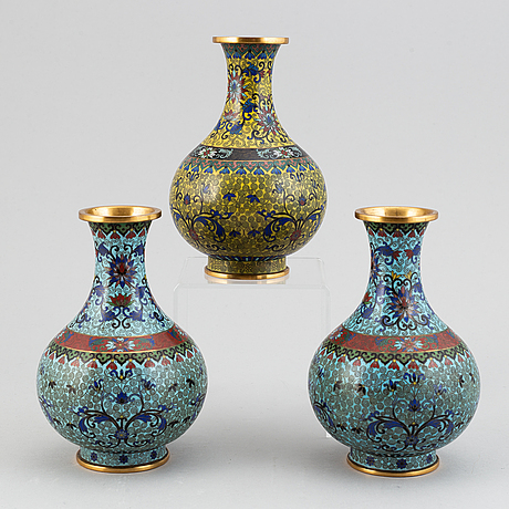 A set of three cloisonné vases, china, 20th century.