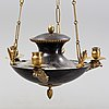 An empire style chandelier for three candles, 20th century.