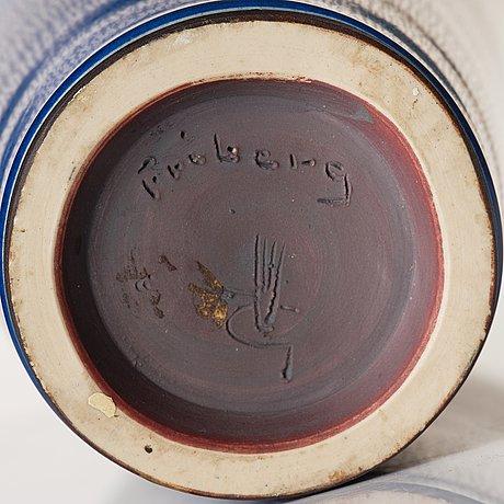 "Berndt friberg, a blue glazed ""rabbit's fur"" stoneware vase, gustavsberg studio, sweden 1958."