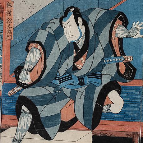 Utagawa kunisada, a woodblock triptych, japan, 19th century.