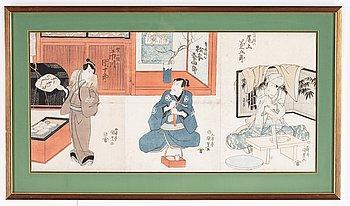 Utagawa Kunisada, triptyk, färgträsnitt. Japan, 1800-tal.