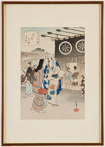 Toshikata mizuno, färgträsnitt. japan, sent 1800-tal.