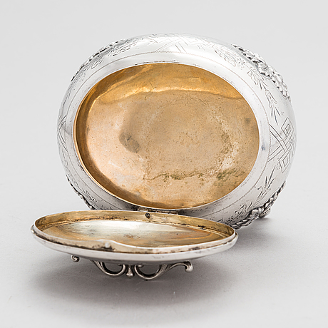 Antoni riedel, a lidded silver sugar casket, warsaw, poland 1894.