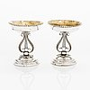 A pair of empire style silver salt cellars, maker's mark of anders gustaf grenman (1811-1843), vasa finland 1825.