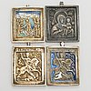 Four russian travelling icons, brass and enamel,late 19th century.