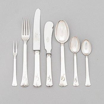 A 39-piece set of 'Jousi' (Bow) silver cutlery, Kultakeskus, Hämeeninna 1953-1966.