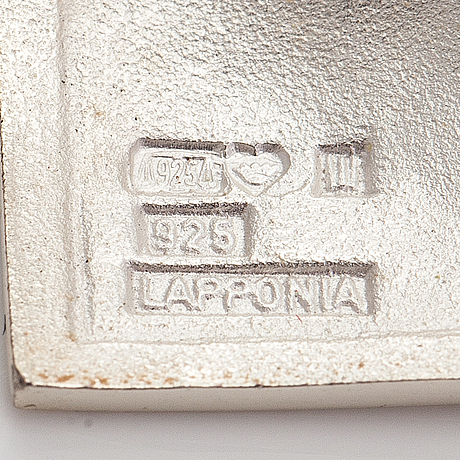 """Björn weckström, a pair of sterling silver earrings """"shields"""". lapponia."""