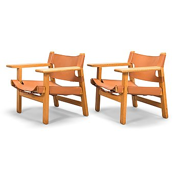 Børge Mogensen, A pair of 'Spanish chairs' for Fredericia Stolefabrik, Denmark.