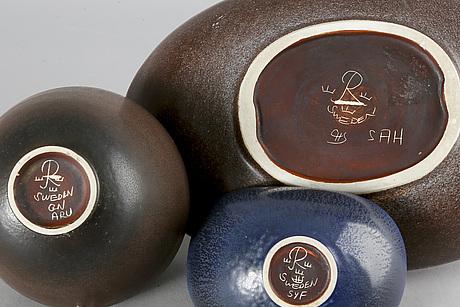 Gunnar nylund and carl harry stålhane 4 bowls stoneware.