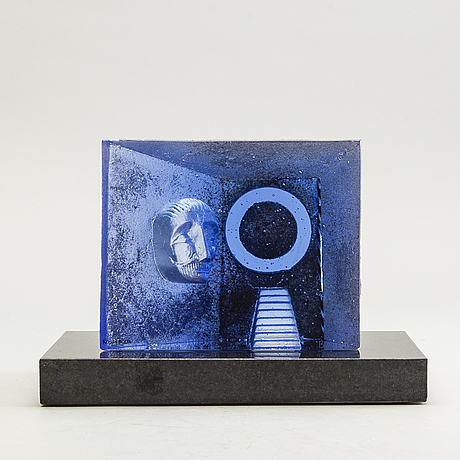 Bertil vallien, a signed glass sculpture from kosta boda.