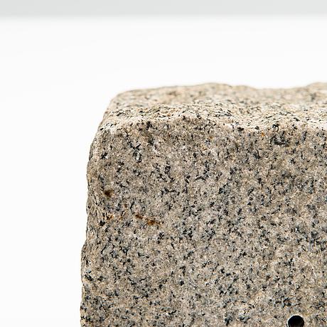Markku salo, 'savanni', a unique pâte de verre, granite and metal sculpture, signed.