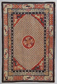 A carpet, semi-antique Suiyuan figural, ca 210 x 139 cm.