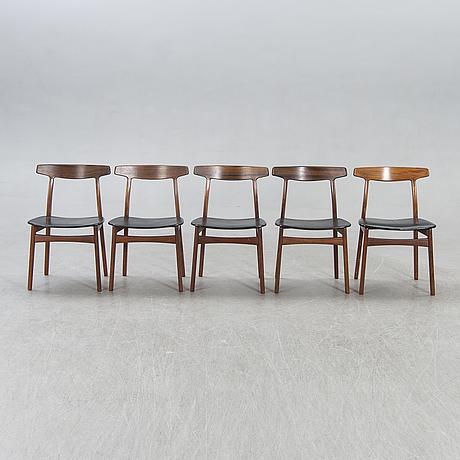 Henning kjaernulf, a set of five 1690s jacaranda chairs for bruno hansen denmark.
