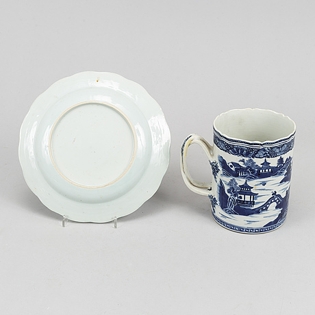 Mug and plate, porcelain, qianlong dynasty 1736-95.
