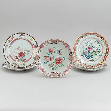 A set of five odd famille rose dishes, qing dynasty, qianlong (1736-95).