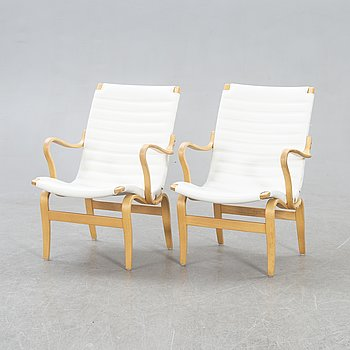 Bruno Mathsson, a pair of Eva leather easy chairs.