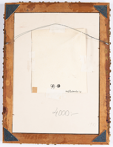 Ulf rahmberg, gouache, signed and dated -81 verso.