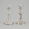 Carl nyström, a pair of silver candlesticks, stockholm 1843.