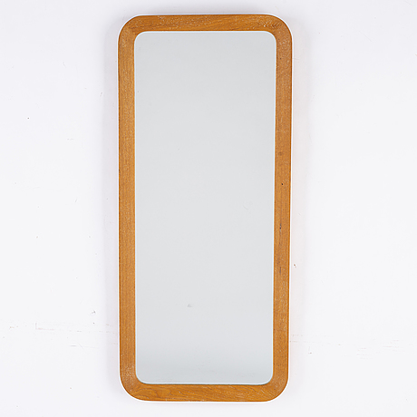 A mirror with oak frame from ateljé glas &trä, hovmantorp, 1960s.