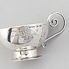 Punschmuggar, 5 st, kåsa samt sockertång, silver, mestadels erik lindbeck, nederkalix 1939.
