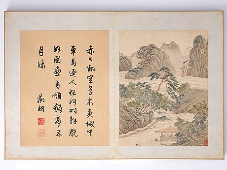 An album with 16 pages in the style of wen zhengming (1470–1559), qing dynasty, 19th century.