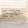 Airi snellman-hänninen, a finnish long pile rug dated 1974. circa 180x140 cm.