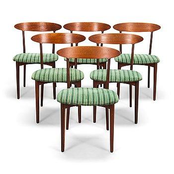 """Kurt Østervig, tuoleja, 6 kpl, """"Skagen"""", Brande Møbelfabrik, Tanska 1900-luvun puoliväli."""
