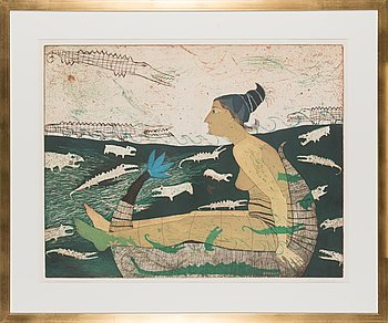 Kirsi Neuvonen, etching and aquatint, signed and dated -91, numbered 10/70.