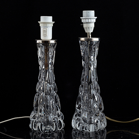 A pair of carl fagerlund glass table lamps, orrefors.