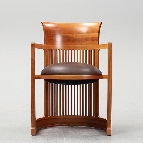 """Frank lloyd wright, karmstol, modellnummer 606 """"barrel"""", cassina."""