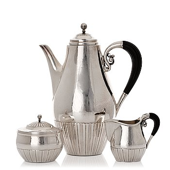 "160. Johan Rohde, a three pieces sterling silver coffee service ""Cosmos"", Georg Jensen, Copenhagen 1945-77, design nr 45 A + D."