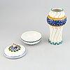 Alf wallander, an art nouveau ceramic vase and box, rörstrand, early 20th century.
