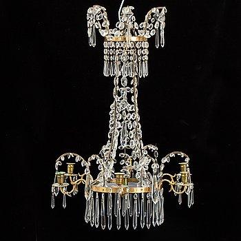 A composite chandelier of older parts.