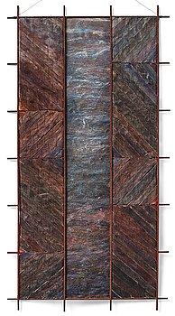 """215. konstverk, """"Utblick"""", blandteknik, ca 97 x 51 cm, på baksidan signerad och daterad 1997."""