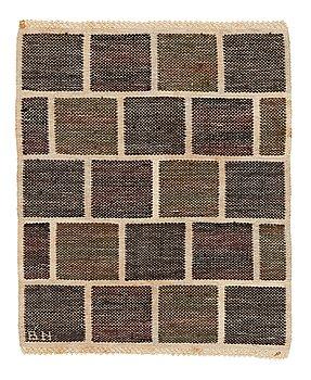 """206. Barbro Nilsson, a textile, """"Kvadrater på linne, mörk"""", flat weave, ca 48-49 x 39-40 cm, signed BN."""