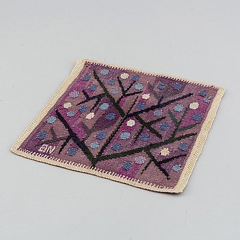 "Barbro Nilsson, a textile, ""Lila kvist"", tapestry weave, ca 22-23,5 x 21,5-22 cm, signed BN."