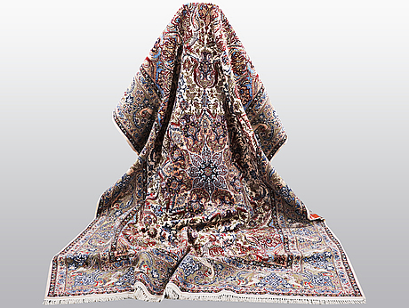 Matta, old isfahan, part silk, ca  312 x 203 cm.