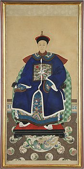 Two Chinese ancestrial portraits, ink and colour on paper, 20th century.