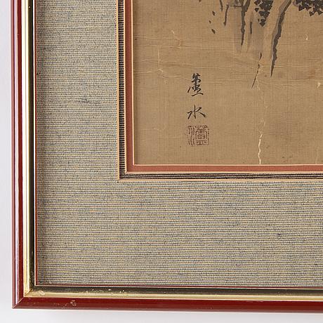 Kakemono/målning, tusch och färg på siden. japan, signerad rosui, sent 1800/tidigt 1900-tal.