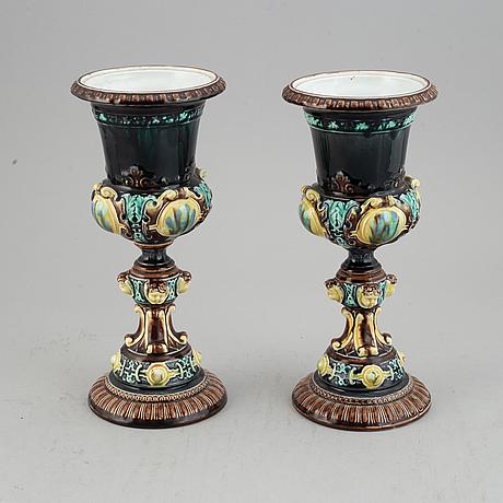 A pair of maiolica urns from rörstrand, ca 1900.