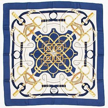 "Hermès, ""Eperon d'Or"" silk scarf."