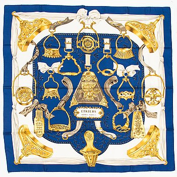 Hermès, 'Etriers' silk scarf.