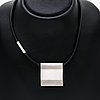 Georg jensen pendant/brooch,on latex string, sterling silver, approx 4 x 4 cm, length approx 45 cm, nr 432.