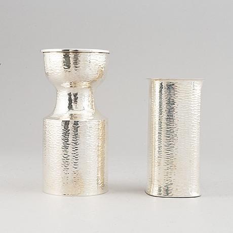 Eric löfman, two silver vases. mgab, uppsala 1970-72.