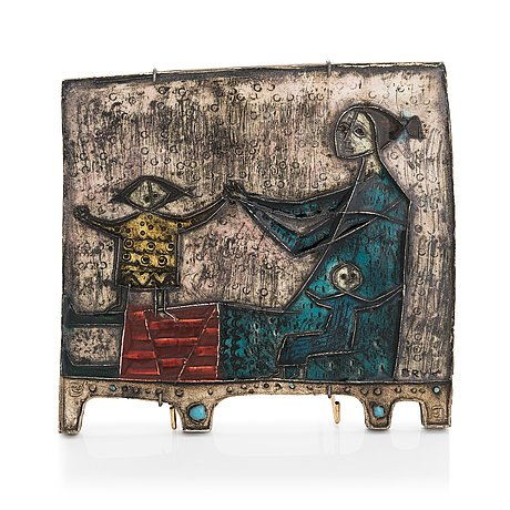 Rut bryk, reliefi, keramiikkaa, signeerattu bryk.