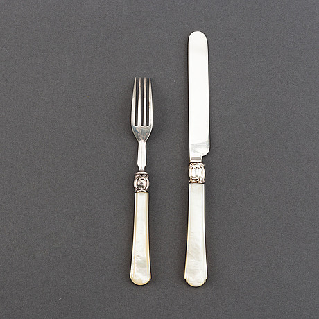 Atkin brothers, 18+16 silver and mother of pearl cutlery, sheffield, 1853, swedish import mark.